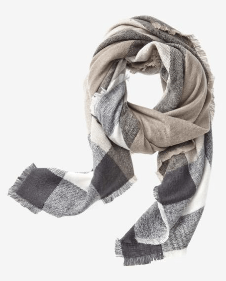 NEUTRAL PLAID SQUARE SCARF rw co